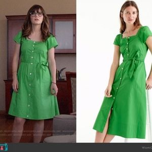 J. Crew Kelly Green Classic Button Front Dress